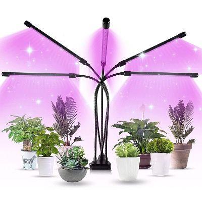 Aogled LED Pflanzenlampe 50W mit 5 Köpfen und 150 LEDs und Timer für 15,99€ (statt 30€)