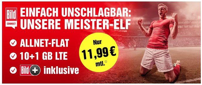 O2 Allnet Flat mit 11GB LTE für 11,99€ mtl. inkl. BILDplus (Wert 7,99€ mtl.) gratis dazu!