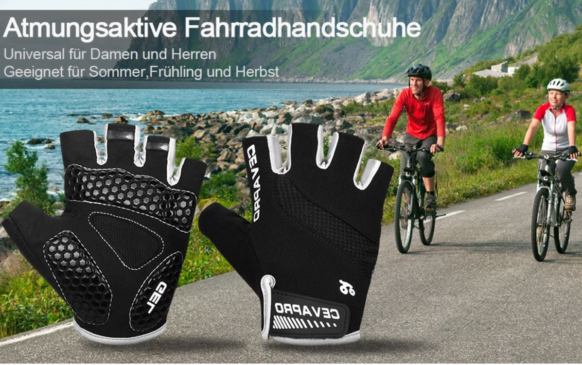 Cevapro atmungsaktive Fahrrad  u. Sporthandschuhe für 7,64€ (statt 17€) Prime