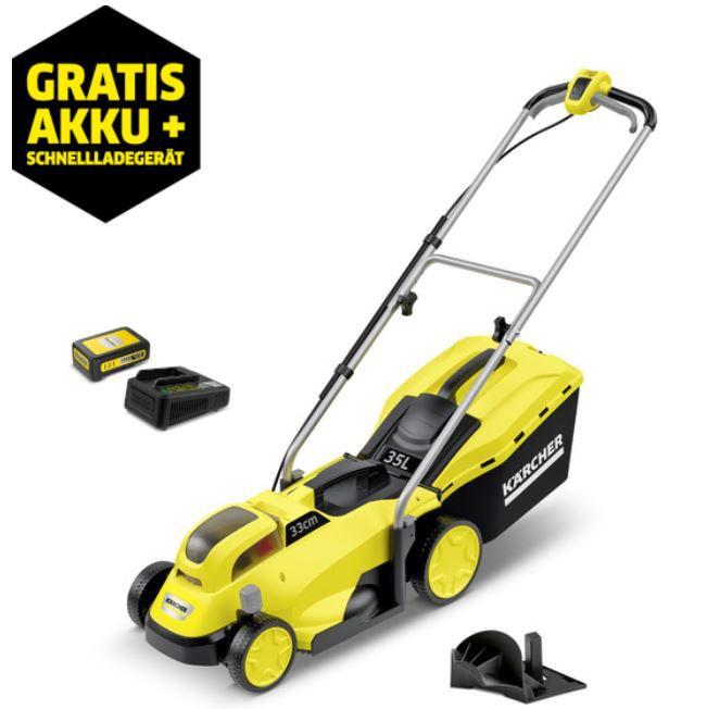 Kärcher LMO 18-33 – Akku Rasenmäher mit 2,5Ah Akku + Ladegerät für 184,99€ (statt 255€)