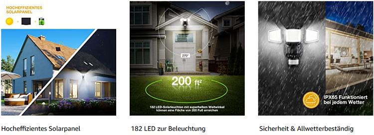 Solar Außenstrahler mit 182 LEDs und Bewegungsmelder für 22,99€ (statt 46€)