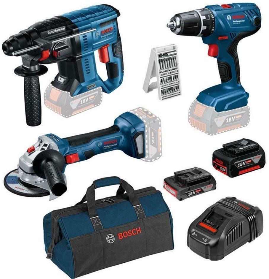 Bosch Blaues Bundle: Bohrschrauber + Bohrhammer + Flex + reichlich Zubehör für 379€ (statt 449€)