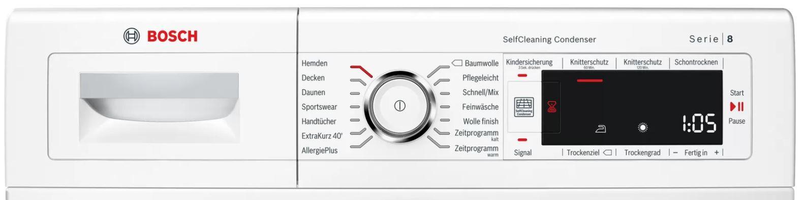 Bosch WTW87541 Serie 8 Wärmepumpen Trockner 9kg für 519€ (statt 570€)