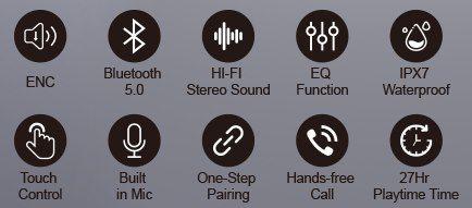 Coumi 834A BT5.0 TWS InEar Kopfhörer mit bis zu 27h Spielzeit für 15,75€ (statt 35€)