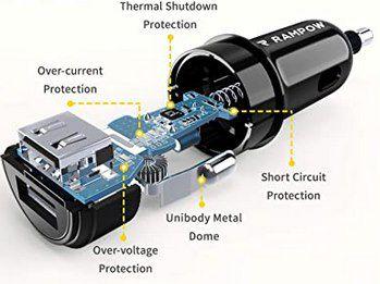 Rampow KFZ Ladegerät mit 2x USB (24W, 4,8A) inkl. 1m Lightning Kabel für 5,20€   Prime