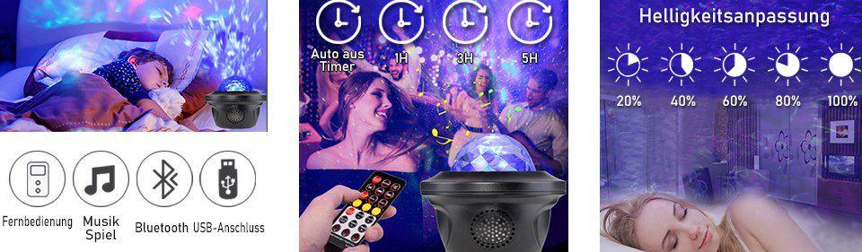 HEXUP LED Sternenhimmel Projektor mit 21 Effekten & 10 Farben für 23,99€ (statt 36€)
