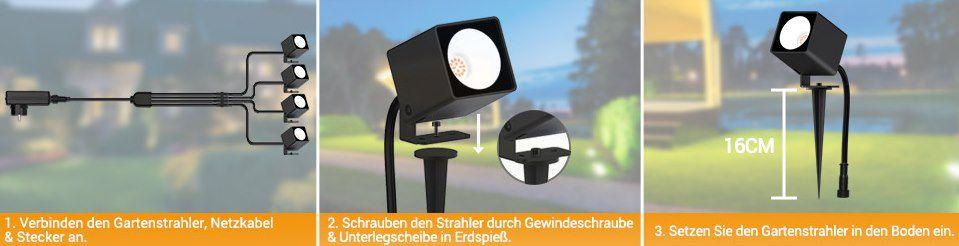 4er Pack: MustWin 10W LED Gartenstrahler mit Erdspieß für 27,99€ (statt 56€)