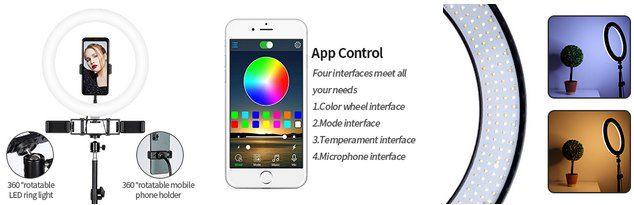 FOSITAN 12 Zoll RGB Ringleuchte mit App Anbindung für 26,49€ (statt 53€)