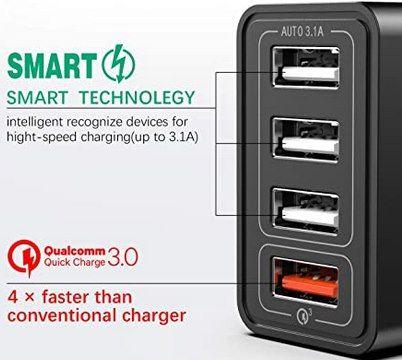 IWAVION 30W USB Ladegerät mit 4 Ports & QC 3.0 für 7,49€ (statt 15€)   Prime