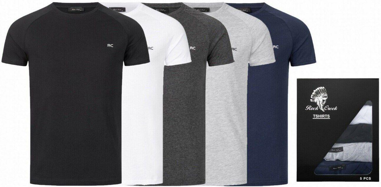 5er Pack: Rock Creek T Shirt mit Rundhals  oder V Auschnitt für 29,90€ (statt 40€)