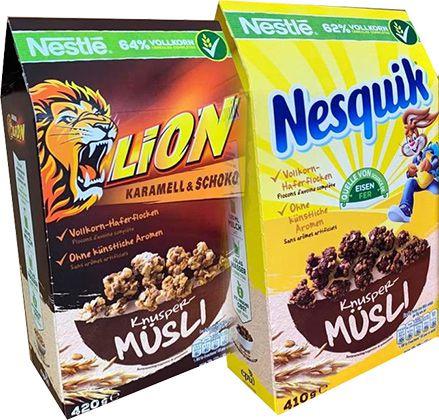 10er Pack: Nesquik & Lion Knuspermüsli (4,17kg) für 18,97€ (statt 31€)