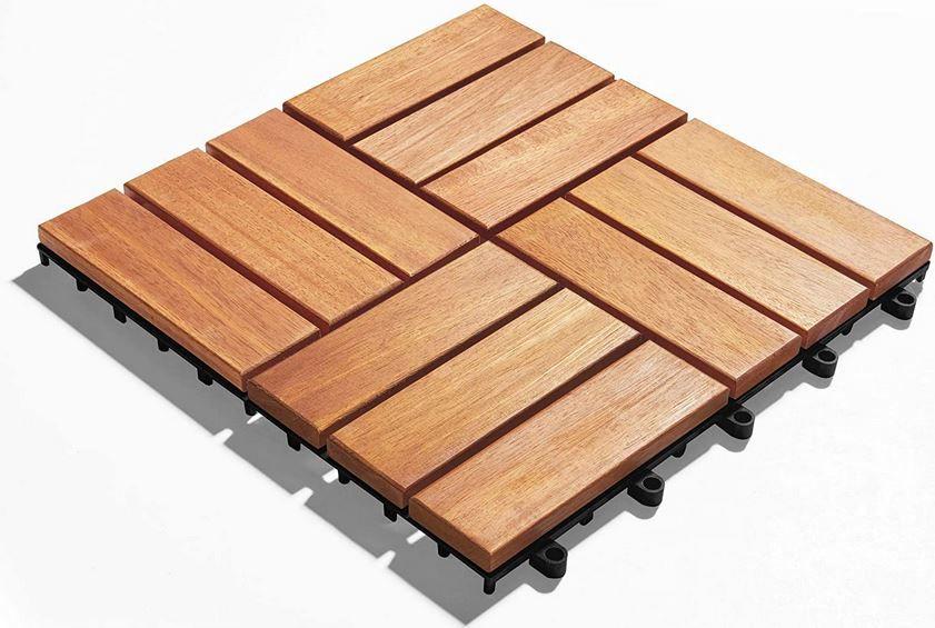 Gartenfreude Akazienholz Holzfliesen 10 Stück 0,9m² für 29,90€ (statt 36€)