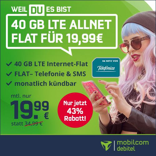 KNALLER! 🔥 o2 Allnet Flat mit 40GB LTE inkl. VoLTE & WLAN Call für 19,99€mtl.   monatlich kündbar!
