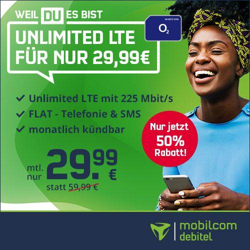 🔥 o2 Free Unlimited LTE Max für 29,99€ mtl. (statt 50€) + 4 Monate Deezer gratis