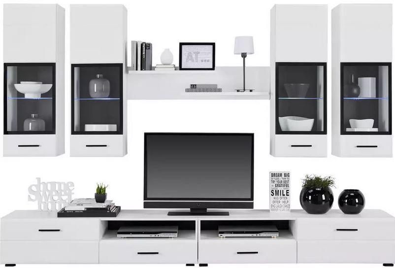 modern Living weiße Wohnwand mit Beleuchtung ab 377,44€ (statt 499€)