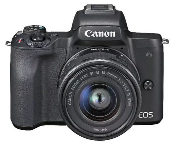 CANON EOS M50 Systemkamera 24.1 MP mit 15 45mm Objektiv für 439,10€ (statt 545€)