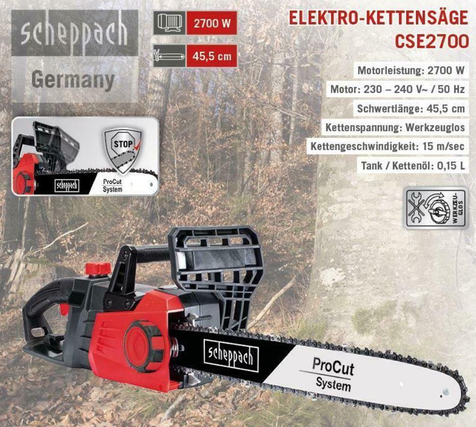 Scheppach CSE2700 Elektro Kettensäge 45,5cm 2,7 kW für 79,95€ (statt 100€)