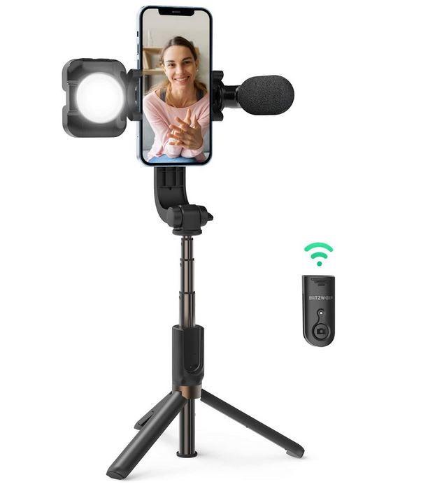 BlitzWolf Bluetooth Selfie Stick mit Beleuchtung und Mikrofon für 28,69€ (statt 41€)