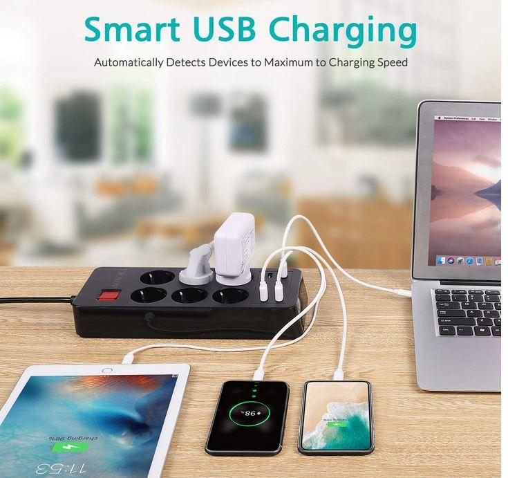 AONOKA P EU6U4 6fach Steckdosenleiste mit 4 x USB für 14,39€ (statt 24€)