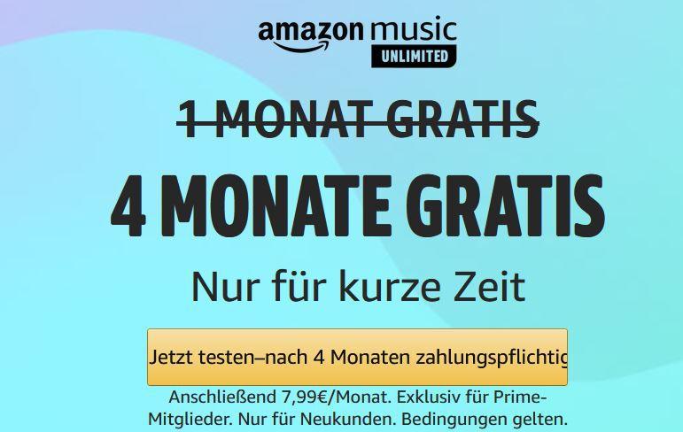 TOP! 4 Monate Amazon Music Unlimited gratis   Neukunden