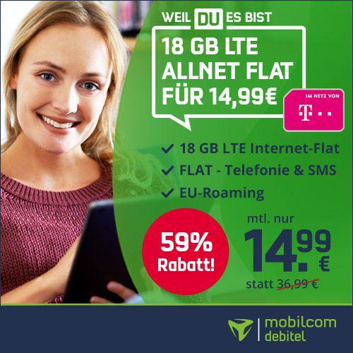 Telekom Allnet Flat mit 18GB LTE für 14,99€ mtl. + gratis 1 Monat waipu TV