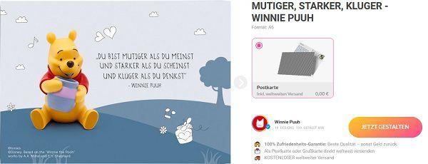 MyPostcard: Gratis Postkarte mit Winnie Puuh Zitat verschicken