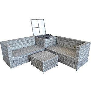 Mucola XXL Polyrattan Sitzgruppe in Grau für 399,90€ (statt 460€)