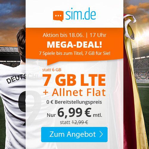 Sim.de o2 Allnet-Flat mit 7GB LTE für 6,99€mtl. + keine Laufzeit