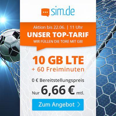 Sim.de: 60 Freiminuten im O2-Netz mit 10GB LTE für 6,66€ mtl. – nur 3 Monate Laufzeit