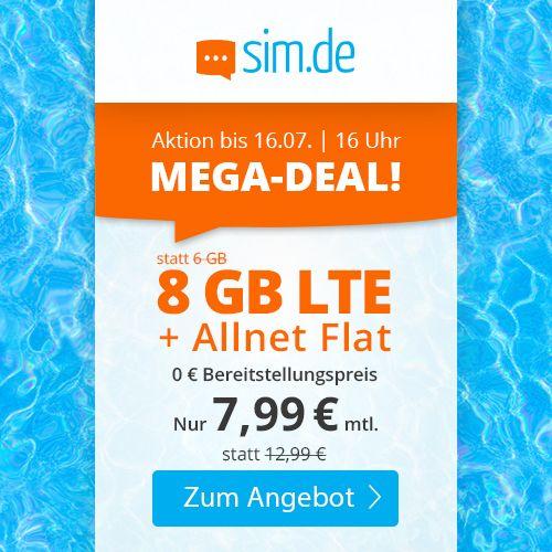 Sim.de: o2 Allnet Flat mit 8GB LTE für 7,99€ mtl.   auch ohne Laufzeit