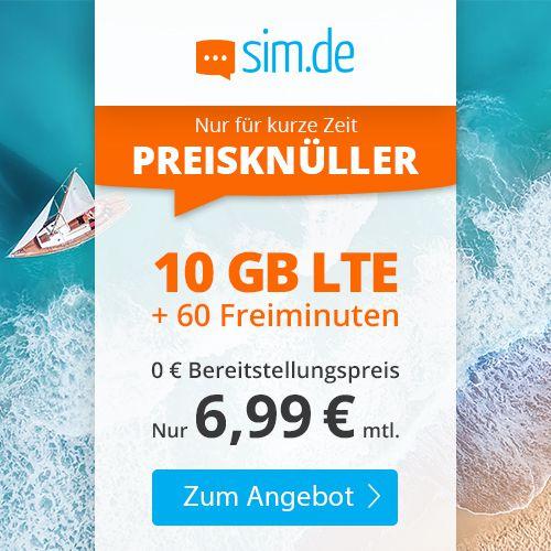 Sim.de: 60 Freiminuten im o2-Netz mit 10GB LTE für 6,99€ mtl. – nur 3 Monate Laufzeit