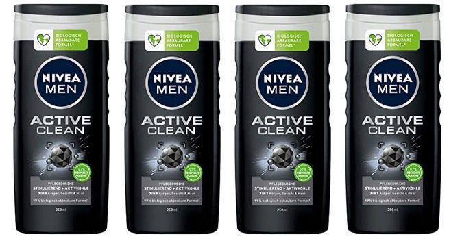 4x NIVEA MEN Active Clean Pflegedusche 250 ml für 4,02€   Prime Sparabo (nur 1€ pro Stück)