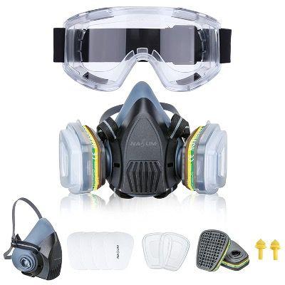 NASUM Halbgesichts Maske wiederverwendbar mit Schutzbrille und Ohrstöpseln für 23,79€ (statt 34€)