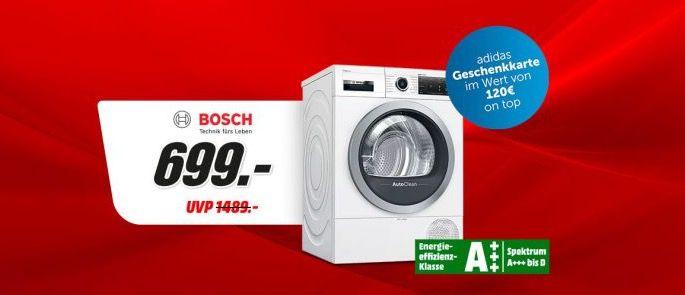 BOSCH WTX87MWIN Wärmepumpentrockner 8kg ab 689€ (statt 818€) + 120€ adidas Gutschein geschenkt