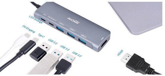 AirCover USB C Hub 6 in 1 mit 4K HDMI, Stromversorgung, USB C, 3x USB 3.0 für 19,79€ (statt 33€)