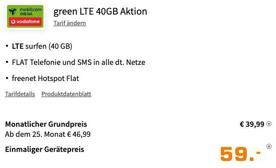 Samsung Galaxy S21 5G 128GB für 59€ + Vodafone Allnet Flat inkl. 40GB LTE für 39,99€ mtl.