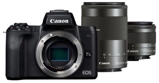 Canon EOS M50 Systemkamera mit Objektiv und Teleozoombjektiv für 656€ (statt 800€)