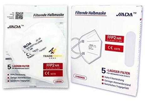100x Jiada FFP2 Schutzmaske 5lagig und CE zertifiziert für 14,99€   nur 0,15€ pro Maske