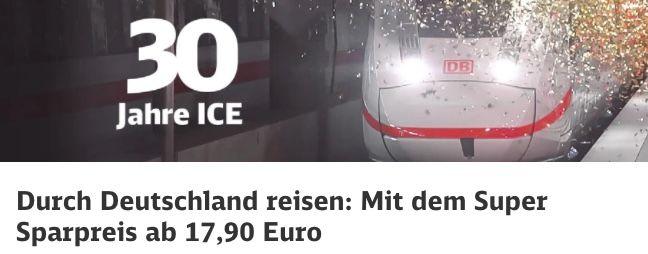 30 Jahre ICE: Deutsche Bahn haut ICE Tickets ab 17,90€ raus   junge Leute 12,90€