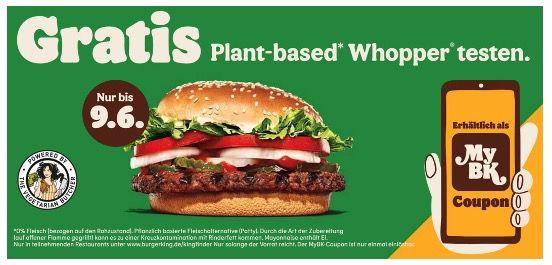 Plant based Whopper gratis bei Burger King bis zum 9. Juni über die App