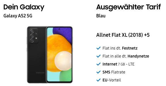 Samsung Galaxy A52 5G mit 256GB für 149€ + o2 Allnet Flat mit 7GB LTE für 14,99€ mtl.