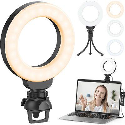 Ruyilam LED Ringlicht mit Clip & Stativ, 3 Beleuchtungsmodi & 11 Helligkeiten für 11,99€ (statt 20€)