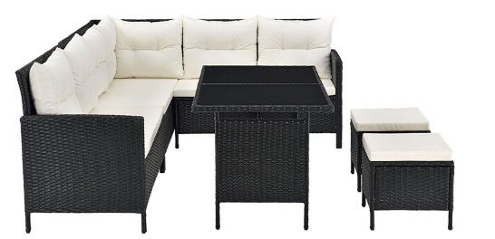 Juskys Polyrattan Lounge Manacor mit Sofa, Tisch & 2 Hockern in Schwarz für 459,99€ (statt 560€)
