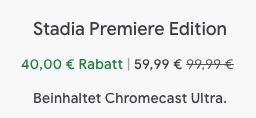 Stadia Premiere Edition (Chromecast Ultra + Stadia Controller) für 59,99€ (statt 100€)