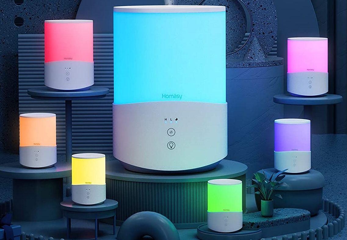 Homasy Ultraschall Luftbefeuchter mit Stimmungslicht für 17,99€(statt 40€)