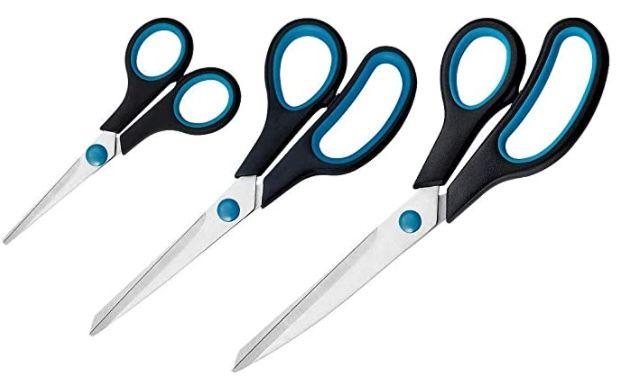 3er Westcott Easy Grip Scheren Set (13,8 + 20,1 + 24,8 cm) für 3,89€ (statt 7€)   Prime