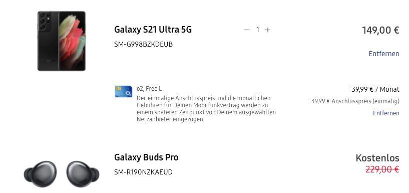 Samsung Galaxy S21 Ultra 5G 128GB + Galaxy Buds Pro für 149€ + o2 Allnet Flat mit 60GB LTE für 39,99€ mtl.