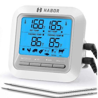 HABOR Grillthermometer mit 2 Mess Sonden mit vielen Funktionen für 18,99€ (statt 26€)