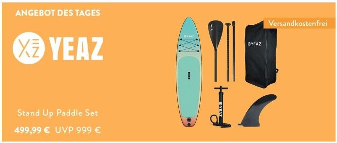 YEAZ Inflatable SUP Board Nelio Exotrek 5teilig inkl. Paddel, Pumpe und Rucksack für 449,99€ (statt 699€)