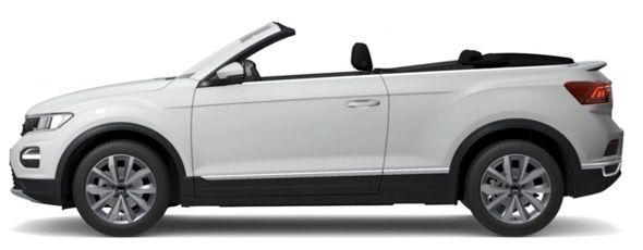 Privat: VW T Roc Cabriolet Style in Schwarz oder Weiß mit 110PS für 195€ mtl.   LF 0,73